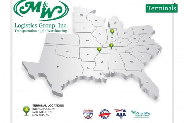 M&W Logistics Group Service Area Map